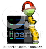 Green Firefighter Fireman Man Resting Against Server Rack Viewed At Angle
