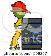 Green Firefighter Fireman Man Resting Against Server Rack