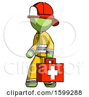 Green Firefighter Fireman Man Walking With Medical Aid Briefcase To Left