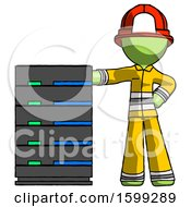 Green Firefighter Fireman Man With Server Rack Leaning Confidently Against It