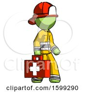Green Firefighter Fireman Man Walking With Medical Aid Briefcase To Right