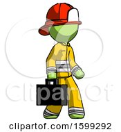 Green Firefighter Fireman Man Walking With Briefcase To The Right