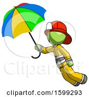 Green Firefighter Fireman Man Flying With Rainbow Colored Umbrella