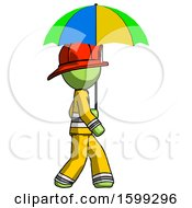 Green Firefighter Fireman Man Walking With Colored Umbrella