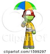 Green Firefighter Fireman Man Holding Umbrella Rainbow Colored