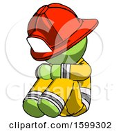 Green Firefighter Fireman Man Sitting With Head Down Facing Angle Left