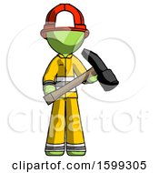 Green Firefighter Fireman Man Holding Hammer Ready To Work