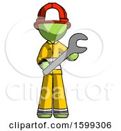 Green Firefighter Fireman Man Holding Large Wrench With Both Hands