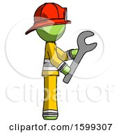 Green Firefighter Fireman Man Using Wrench Adjusting Something To Right