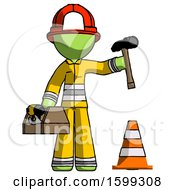 Green Firefighter Fireman Man Under Construction Concept Traffic Cone And Tools