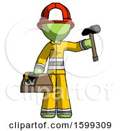 Green Firefighter Fireman Man Holding Tools And Toolchest Ready To Work