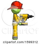 Green Firefighter Fireman Man Using Drill Drilling Something On Right Side