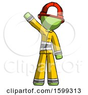 Green Firefighter Fireman Man Waving Emphatically With Right Arm
