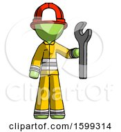 Green Firefighter Fireman Man Holding Wrench Ready To Repair Or Work