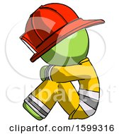 Green Firefighter Fireman Man Sitting With Head Down Facing Sideways Left