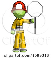 Green Firefighter Fireman Man Holding Stop Sign