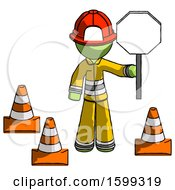 Green Firefighter Fireman Man Holding Stop Sign By Traffic Cones Under Construction Concept