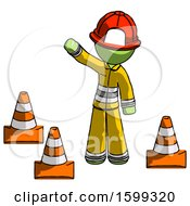 Green Firefighter Fireman Man Standing By Traffic Cones Waving
