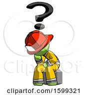 Green Firefighter Fireman Man Thinker Question Mark Concept