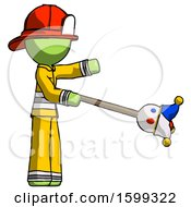 Green Firefighter Fireman Man Holding Jesterstaff I Dub Thee Foolish Concept