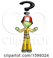 Green Firefighter Fireman Man With Question Mark Above Head Confused