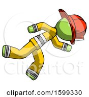 Green Firefighter Fireman Man Running While Falling Down