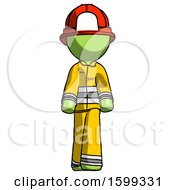 Green Firefighter Fireman Man Walking Front View