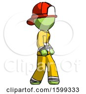 Green Firefighter Fireman Man Walking Turned Right Front View