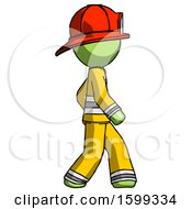 Green Firefighter Fireman Man Walking Right Side View