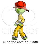 Green Firefighter Fireman Man Walking Left Side View