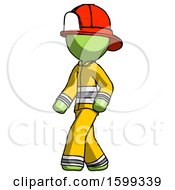 Green Firefighter Fireman Man Man Walking Turned Left Front View
