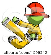 Green Firefighter Fireman Man Flying Ninja Kick Left