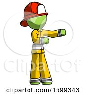 Green Firefighter Fireman Man Presenting Something To His Left