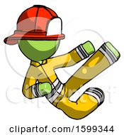 Green Firefighter Fireman Man Flying Ninja Kick Right