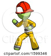 Green Firefighter Fireman Man Martial Arts Defense Pose Left