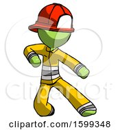 Green Firefighter Fireman Man Karate Defense Pose Right