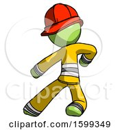 Green Firefighter Fireman Man Karate Defense Pose Left