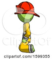 Green Firefighter Fireman Man Kneeling Left