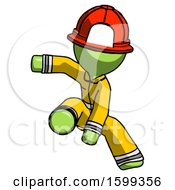 Green Firefighter Fireman Man Action Hero Jump Pose