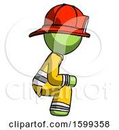 Green Firefighter Fireman Man Squatting Facing Right