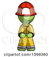 Green Firefighter Fireman Man Squatting Facing Front