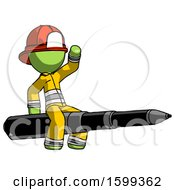 Green Firefighter Fireman Man Riding A Pen Like A Giant Rocket