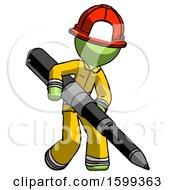 Green Firefighter Fireman Man Writing With A Really Big Pen