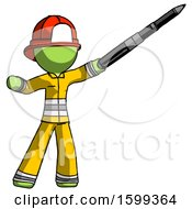 Green Firefighter Fireman Man Demonstrating That Indeed The Pen Is Mightier