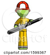 Green Firefighter Fireman Man Posing Confidently With Giant Pen