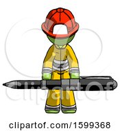 Green Firefighter Fireman Man Weightlifting A Giant Pen