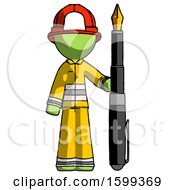 Green Firefighter Fireman Man Holding Giant Calligraphy Pen
