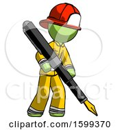 Poster, Art Print Of Green Firefighter Fireman Man Drawing Or Writing With Large Calligraphy Pen