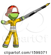 Poster, Art Print Of Green Firefighter Fireman Man Pen Is Mightier Than The Sword Calligraphy Pose