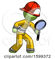 Green Firefighter Fireman Man Inspecting With Large Magnifying Glass Right